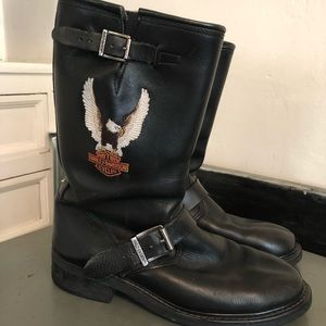 Vintage Authentic Harley Davidson Leather Boots